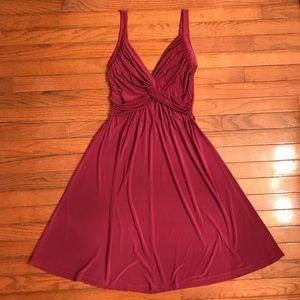 Knotted VNeck Magenta Cocktail Dress - FINAL PRICE